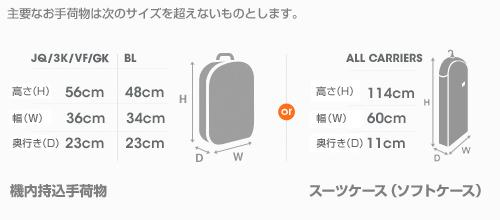機内持ち込み手荷物のサイズ