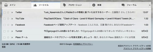 Gmailのタブ機能
