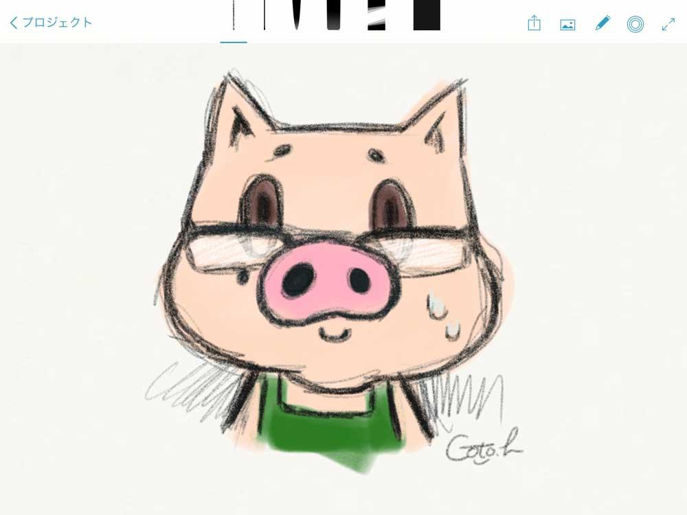 ごぶたんをAdobe Sketchアプリで描いた